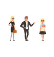 male and female character in formal clothing with vector image