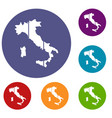 map of italy icons set vector image vector image
