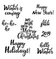merry christmas happy new year 2019 hello winter vector image vector image
