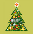 merry christmas retro watercolor folk tree card vector image vector image