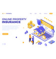 online propery house insurance isometric vector image vector image