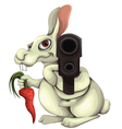 Rabbit With A Gun vector image vector image