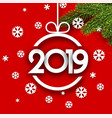 red 2019 new year background with fir branches and vector image vector image