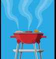round barbecue grill bbq icon electric grill vector image