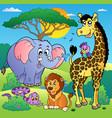 savannah scenery with animals 2 vector image