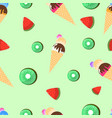seamless pattern ice cream watermelon and kiwi vector image vector image
