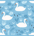seamless pattern with white swans floating in vector image vector image
