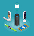 security internet things isometric composition vector image