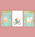 set for easter with cute characters vector image vector image