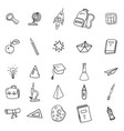 set icons hand drawing line doodle school items vector image vector image