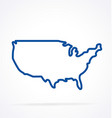 simplified usa america map outline vector image vector image