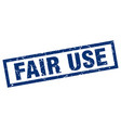 square grunge blue fair use stamp vector image vector image