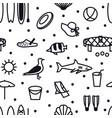 summer icons seamless pattern black line set vector image