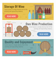 three banner for wine production vector image vector image