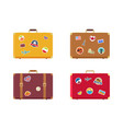 time to travel suitcase with magnets souvenirs vector image vector image
