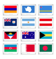 Twelve National Flags on Metal Texture Plates vector image