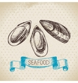 Vintage sea background Hand drawn sketch seafood vector image vector image