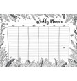 weekly planner coloring page vector image
