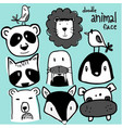wild animal face doodle set vector image