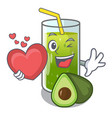 with heart avocado smoothies are isolated on vector image vector image