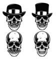 set of skulls in vintage hats skull with vector image