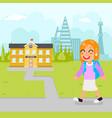 girl school kid pupil education building student vector image