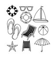 monochrome set of icons of vacations beach vector image
