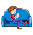 A boy sitting at the sofa with a gadget vector image vector image