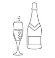 a glass and a bottle of champagne icons vector image