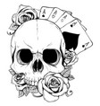 aces of poker and roses with skull grunge vintage vector image