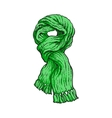 Bright green slip knotted winter knitted scarf vector image vector image