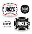 burgers vintage label set vector image