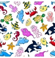 Cartoon cute sea animals Funny kids wallpaper vector image