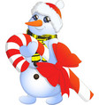 cartoon image of a cute white snowman with vector image