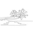 continuous line drawing coconut trees nature vector image vector image