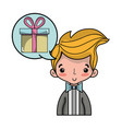 cute man with hairstyle and chat bubble vector image