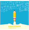 education infographic pencil rocket knowledge icon vector image
