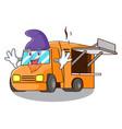 elf rendering cartoon of food truck shape vector image