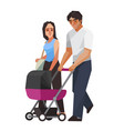 familycouple with baby cart vector image vector image