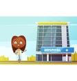 Female Doctor Cartoon Figurine At City Hospital vector image