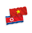 flags north korea and vietnam on a white vector image
