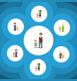 Flat icon relatives set of mother daugther boys vector image