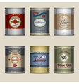 Food cans set vector image vector image