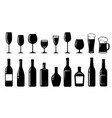 food set alcohol bottles and glasses vector image