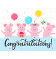 funny pigs at a party congratulations hand vector image