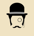 gentleman wearing bowler hat vector image