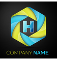 H Letter colorful logo in the hexagonal on black vector image vector image