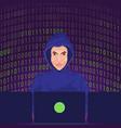 hacker using the internet hacked computer server vector image