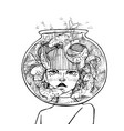 hand drawn girl with aquarium on head with fish vector image vector image