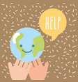 hands holding kawaii world help donate charity vector image vector image